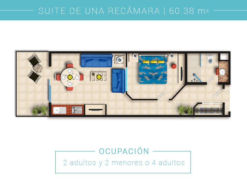 Floor Plan Suite De Una Recamara Villa Del Palmar Puerto Vallarta