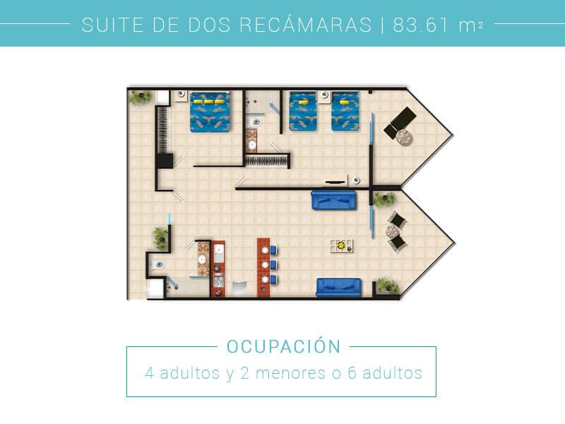 Floor Plan Suite De Dos Recamaras In Villa Del Palmar Puerto Vallarta