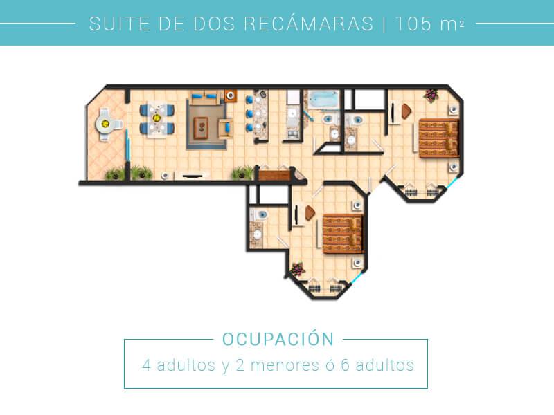 Floor Plan Suite De Dos Recamaras Villa Del Palmar Cabo San Lucas