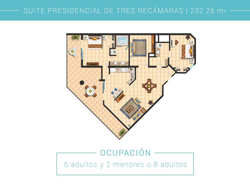 Floor Plan Suite Presidencial De Tres Recamaras Villa Del Palmar Cabo San Lucas