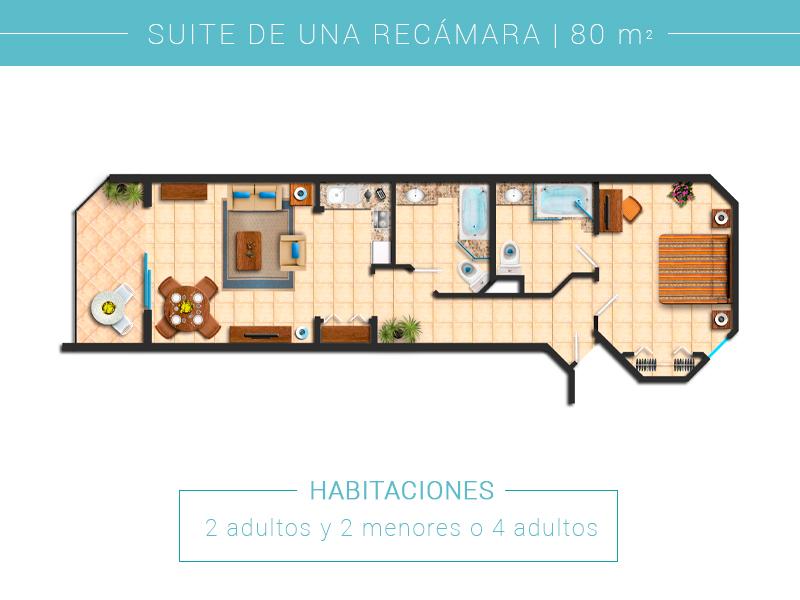 Floor Plan Suite Una Recamara Villa Del Palmar Cabo San Lucas