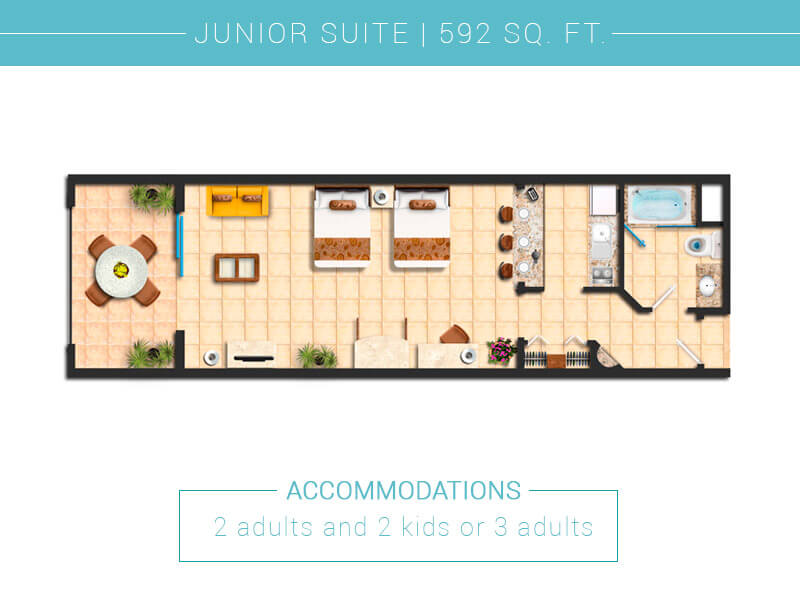 Floor Plan Junior Suite Villa Del Palmar Cabo