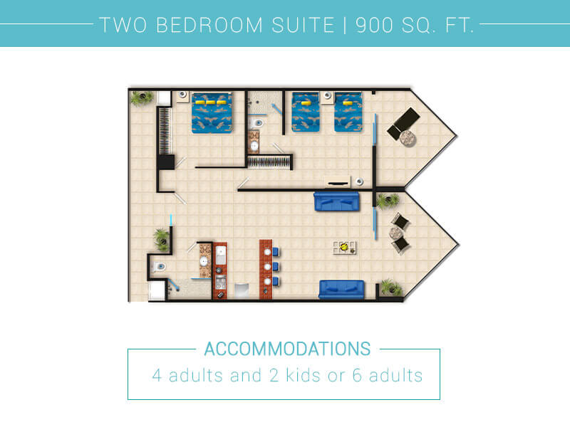 Floor Plan Two Bedroom Suite In Villa Del Palmar Puerto Vallarta