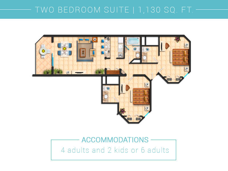 Floor Plan Two Bedroom Villa Del Palmar Cabo San Lucas
