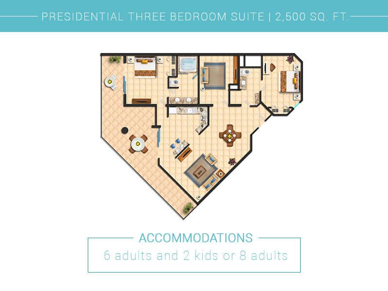 Floor Plan Presidential Three Bedroom Villa Del Palmar Cabo San Lucas
