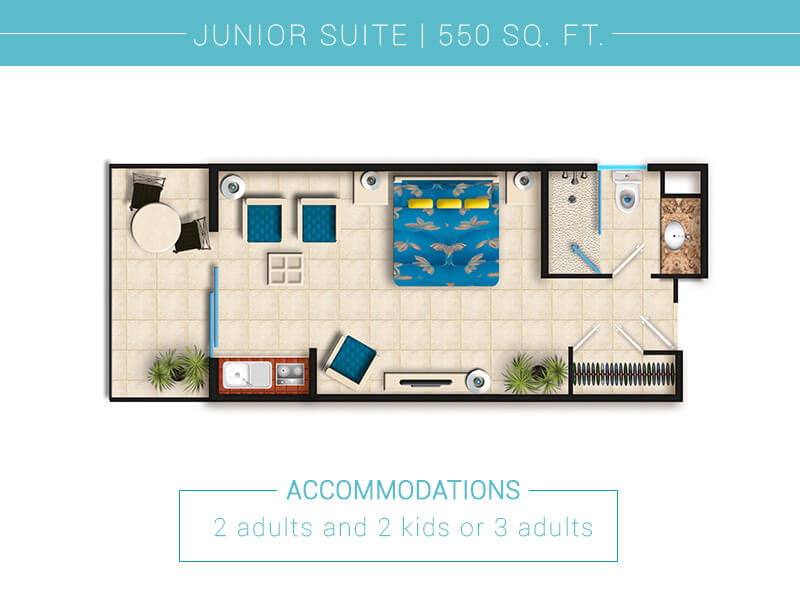 Floor Plan Junior Suite In Villa Del Palmar Puerto Vallarta